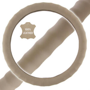 Genuine Leather Steering Wheel Cover For Car Suv Truck Small 13 5 14 5 Beige
