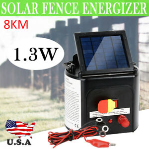 8km Solar Electric Fence Energiser Power Charger 0 3j Farm Poly Wire Insulator