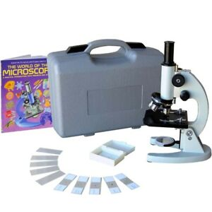 Amscope 40x 1000x Monocular Student Metal Compound Microscope Abs Case 10pc S