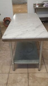Stainless Steel Work Tables heavy Duty 14 Guage Marble Tops