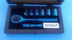 rare Kobalt Blue Metal 8 Piece Ratchet Socket Set W wooden Case New