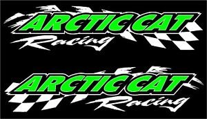 Arctic Cat Racing Checker Snowmobile 2 Sticker Decal Set 11 x48 White