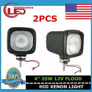 2x 4inch 35w 12v Hid Xenon Work Light Flood Atv Off Road Fog 4x4 Truck Ute Black