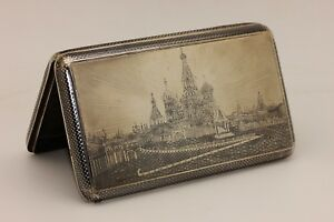 Antique Russian Silver 84 Kremlin Palace Decorated Very Big Cigarette Case