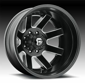 2 New 17x6 5 140 Fuel D538 Maverick Dually Rear Black Milled 8x6 5 Wheels Rims