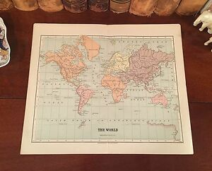 Fine Original 1882 Engraved Antique Map The World Mercator S Projection