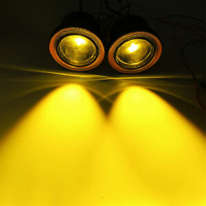 Yellow 3 5 Projector Led Fog Light Driving W Amber Cob Halo Angel Eyes Ring