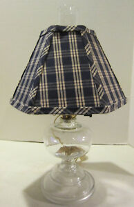 Vintage Clear Glass Electrified Oil Lamp With Blue Plaid Shade Americana In Ec
