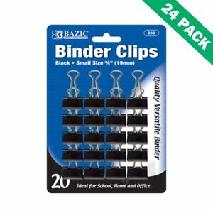 Paper Binder Clips Office Small Black Binder Clips 19mm 20 pack Pack Of 24