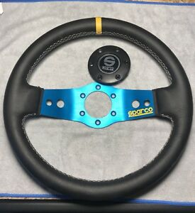Sparco Steering Wheel L555 Safari 350mm 90mm Leather Blue