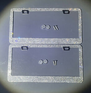 2 Made With Swarovski Crystal Metal License Plate Frame Screw Cap Chrome Diamond
