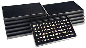 12 72 Slot Black Ring Display Travel Tray Jewelry