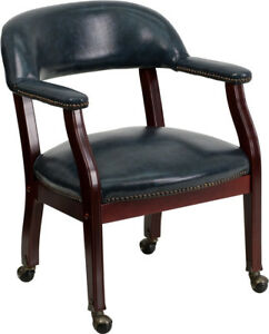 Mahogany Wood W vinyl Wrap Around Back Captains Desk Guest Side Chairs 3 colors