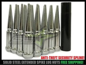 20 Chrome Mustang Spike Lug Nuts 1 2 20 Anti Theft Key For All 5x4 5 5x114 3