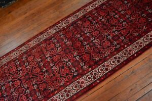Vintage Persian Malayer Design Runner 3 5 X14 Black Ivory All Wool Pile
