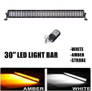 32 Inch Amber white Strobe Remote Led Work Light Bar Combo Off Road 4x4 Truck