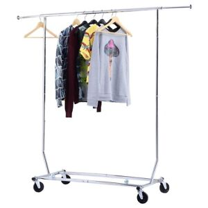 Home Heavy Duty Business Room Clothing Garment Storage Rolling Laundry Rack New