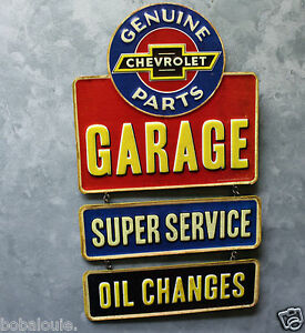 Vintage Style Chevy Parts Garage Embossed Metal Signs Repair Shop Auto Station