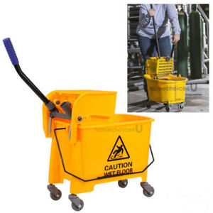 20l Commercial Wet Mop Bucket Wringer Combo Side Press Yellow Heavy Duty