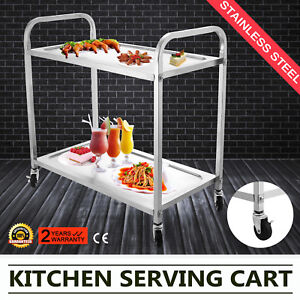 Kitchen Stainless Steel Serving Cart Utility Dining Trolley Workstation Popular