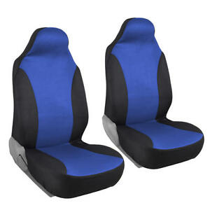 Two Tone Bucket Seat Covers Highback Front Pair 2pc Car Suv Truck Black Blue