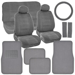 Retro Vintage Fabric Seat Covers Plush Carpet Floor Mats In Original Grey