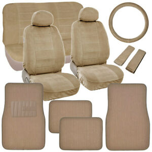 Retro Vintage Fabric Seat Covers Plush Carpet Floor Mats In Classic Beige
