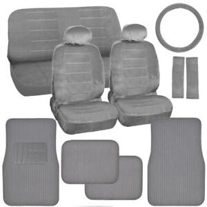 Original Gray Auto Seat Covers For Car Truck Suv Plush Carpet Floor Mats