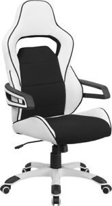 Black White Vinyl Race Car Inspired Bucket Seat Home Office Desk Gaming Chairs