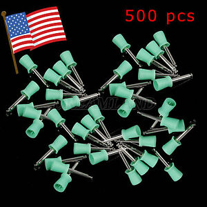 500pcs Dental Prophy Polishing Soft Cup Brush 4 webbed Latch Type Green Us Stock