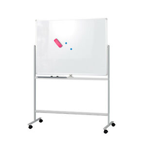 Mobile Whiteboard Magnetic Dry Erase Board 47 X 35 Double Sided With Stand