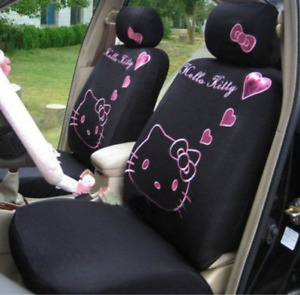 2017 New 10 Pcs Hello Kitty Black Car Seat Covers Front Rear Cover Accessory Set