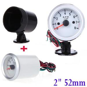 2 52mm Blue Led Light Car 0 8000rpm Tachometer Tacho Gauge Meter Holder