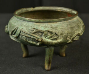 Antique Chinese Qing Bronze Incense Burner High Relief Crab Shrimp Censer As Is