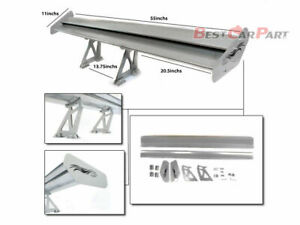 Rtunes Racing 55 Type V Adjustable Gt Double Deck Aluminum Spoiler Wing Silver