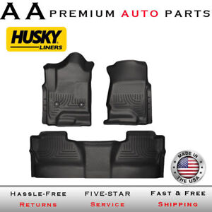 Husky Liners For 14 18 Silverado Sierra Crew Cab Only Black Mat Weather Beater