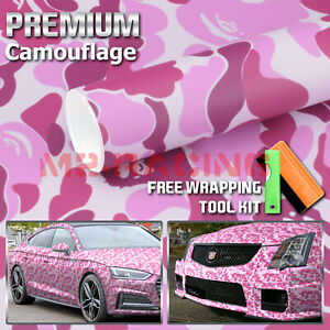 12 X60 Pink Ape Camouflage Camo Car Vinyl Wrap Sticker Decal Film Air Release