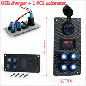 Car On off Led Rocker Switch Panel Dual Usb Charger Voltmeter Gauge Boat Marine