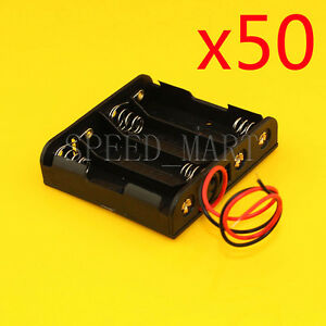 50 Pcs High Quality Aa 4 2a Battery Storage Clip Holder Box Case With 15cm Lead