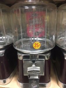 Beaver Burgundy Chrome Gumball Candy Nut Bulk Vending Machine With Lock Key