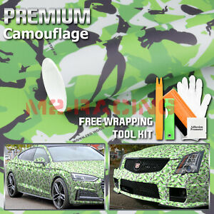 60 X72 Green Morning Wood Camouflage Camo Car Vinyl Wrap Sticker Air Release