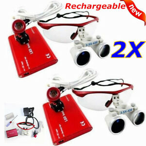 2pc Led Headlight Lamp dental Medical Surgical 3 5x Binocular Loupes Red Us