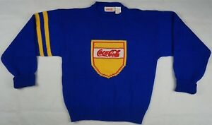 Rare Vintage COCA COLA BRAND Shield Spell Out Knit Sweater 90s Blue Yellow SZ M