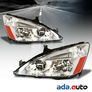 For 2003 2004 2005 2006 2007 Honda Accord Factory Style Chrome Headlights Set