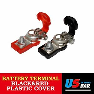 Pair Battery Cable Terminal Clamp Red Black Cover Top Post Negative Positive