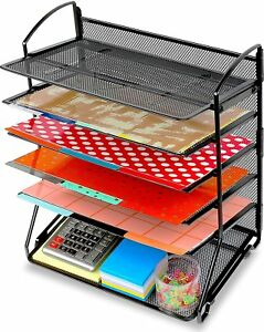 Desktop Document Organizer Tray Letter Holder Mesh Black Office Desk Table 15 5