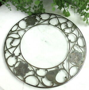 Lovely Antique Sterling Silver Overlay Trivet Coaster