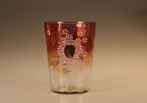 Victorian Glass Amethyst Flashed Tumbler Handpainted Blue White Flowers C 1890