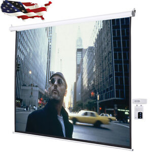 1pc 4 3 Electric Auto Projector Projection Office Screen 96 x72 Remote Control