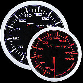 52mm Depo Celsius Racing Oil Temperature Gauge White Amber Red Wa5247b Cel